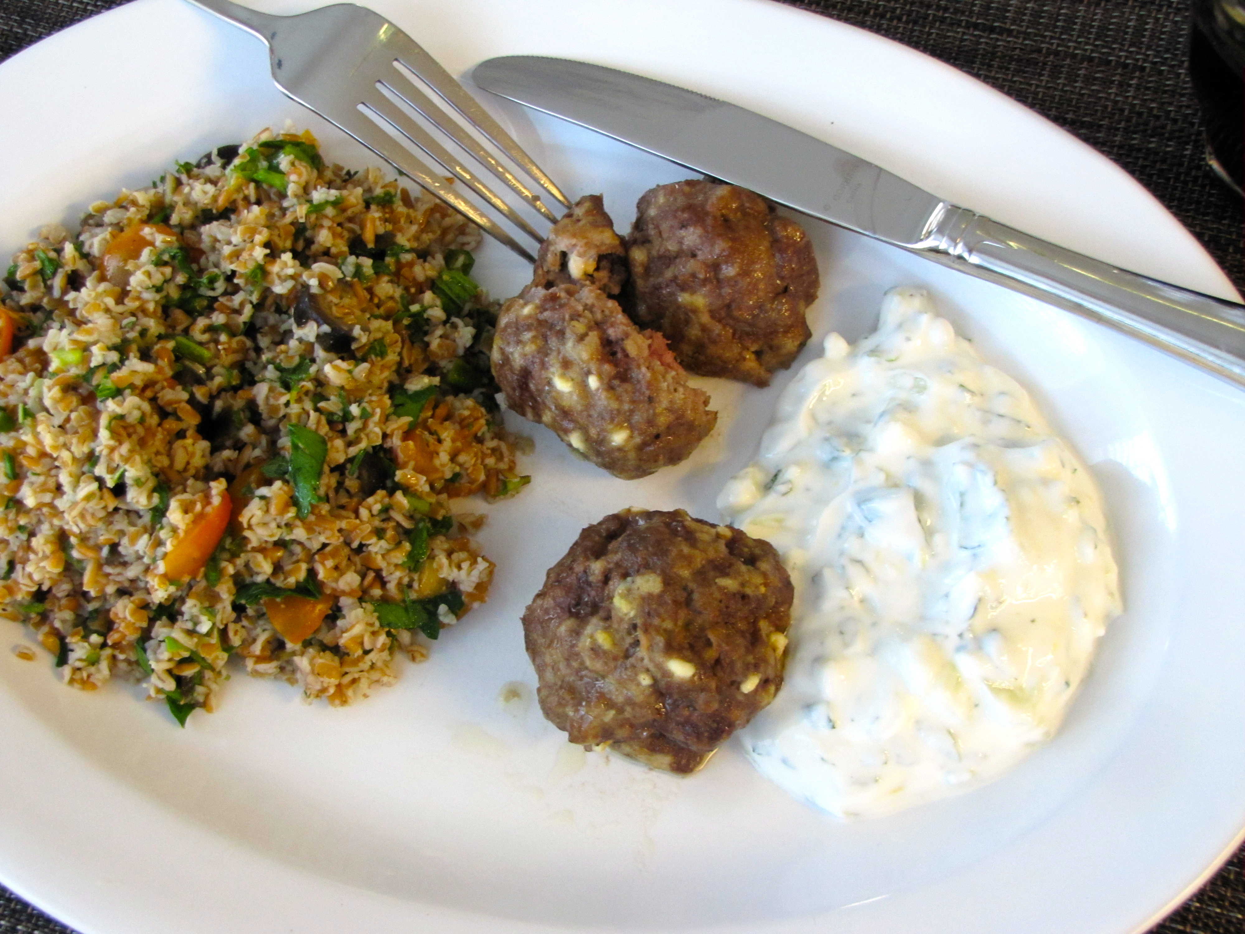 Tabouli with Mediterranean Meatballs and Yogurt Dipping Sauce – our ...